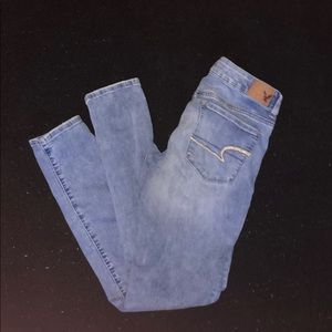 American Eagle AEO skinny jeans stretch light wash